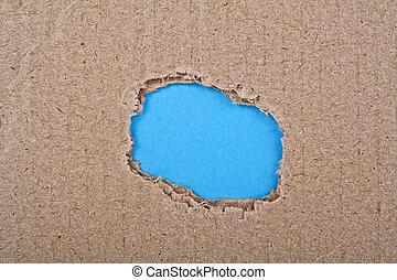 blu, strappato, carta, buco, cartone