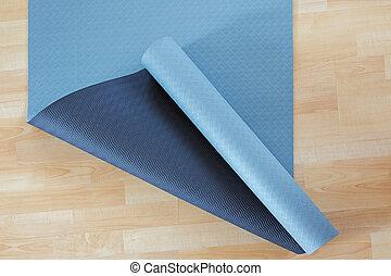 blu, stuoia yoga, scivolare, legno, pratica, o, anti, fondo,...