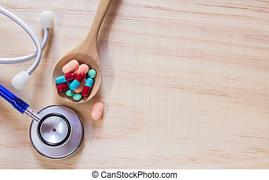 blu, su, cucchiaio, legno, stetoscopio, chiudere, pillole