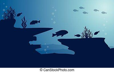blu, subacqueo, fish, silhouette, mare