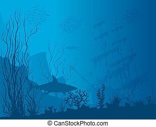 blu, subacqueo, paesaggio