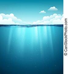 blu, subacqueo, pulito, natura, cielo, acqua oceano, fondo., mare, surface., fondale