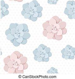 blu, succulento, pietra, fiore, pastello, rosa, pattern., pianta, seamless, fondo., colori, rosa, puntino polka, echeveria