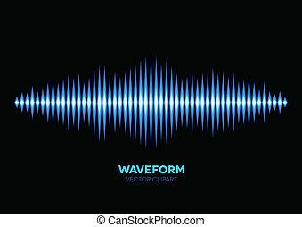 blu, suono, forma onda