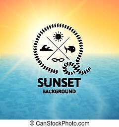 blu, superficie, acqua, tramonto, mare giallo