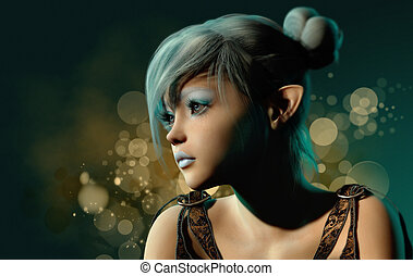 blu, sylph, ritratto, 3d, cg
