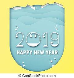blu, taglio, craft., digitale, numero, illustrazione, decorazione, fondo., vettore, disegno, carta, anno, 2019, calligrafia, nuovo, felice