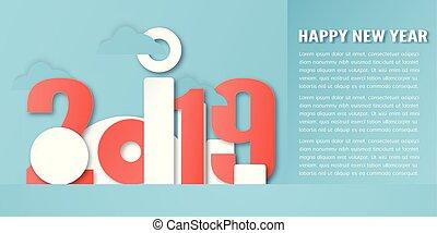 blu, taglio, craft., digitale, numero, nuovo, decorazione, fondo., carta, disegno, illustrazione, anno, 2019, calligrafia, vettore, style., minimo, felice