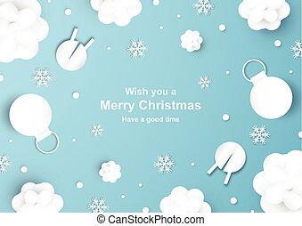 blu, taglio, flake., neve, decorazione, mestiere, carta, fondo, natale