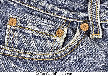 blu, tasca, jeans