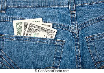 blu, tasca, soldi, jeans