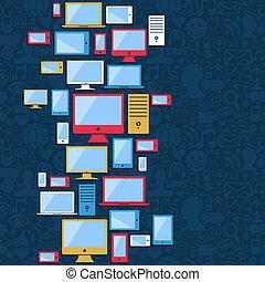 blu, tavoletta, icone, mobile, computer, fondo