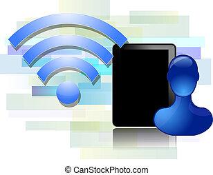 blu, tavoletta, wifi, persona, disegno, nero