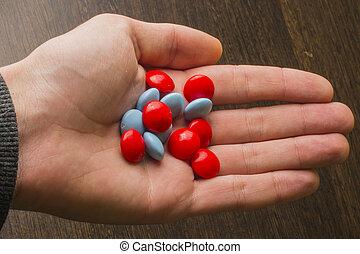 blu, tavolette, rosso, mano