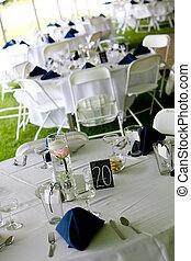 blu, tavoli, tovaglioli, matrimonio