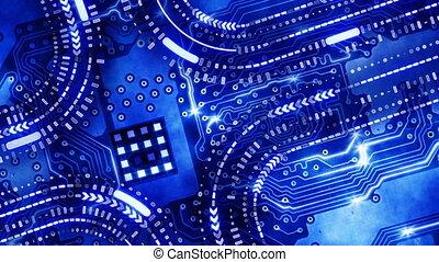 blu, tecnologia, scheda circuito, cappio