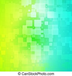 blu, tegole, arrotondato, alzavola, tonalità, giallo, ardendo, sfondo verde