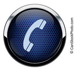 blu, telefono, favo, icona