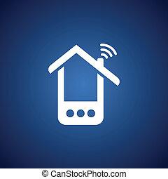 blu, telefono, sopra, casa
