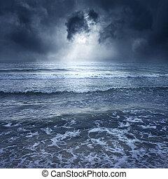 blu, tempesta, mare, -, con, tuono