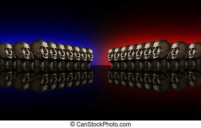 blu, teste, due, gruppi, mannaquin, rosso