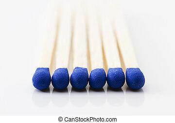 blu, teste, fiammifero