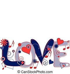 blu, testo, bianco, amore, rosso