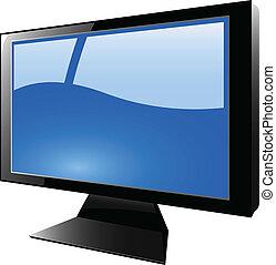 blu, tft, vettore, monitor