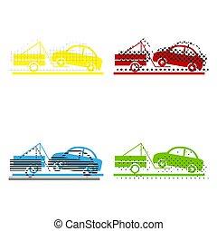 blu, thei, icone, segno., rimorchio, giallo, camion, vector., verde rosso