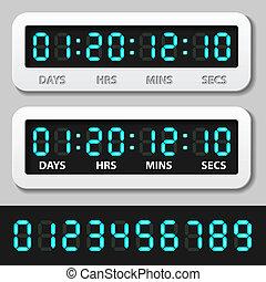 blu, -, timer, conto alla rovescia, ardendo, vettore, numeri, digitale