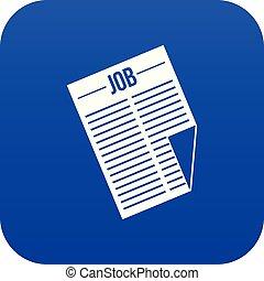 blu, titolo, lavoro, digitale, giornale, icona