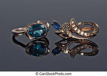 blu, topazio, anello, oro, orecchini