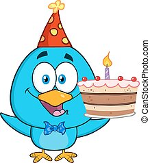 blu, torta, compleanno, uccello, presa a terra