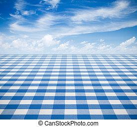 blu, tovaglia, backgound, con, cielo
