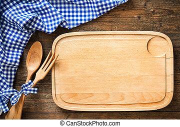 blu, tovaglia, checkered, utensili cucina