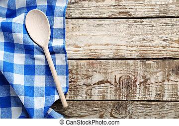 blu, tovagliolo, e, cucchiaio, su, uno, grigio, tavola legno