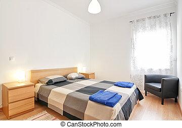 blu, towels., camere letto, albergo