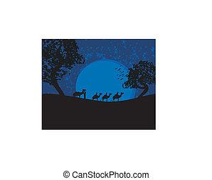 blu, tramonto, deserto sahara, bedouins