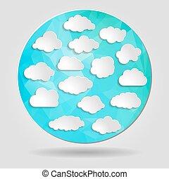 blu, tri, set, nubi, forma astratta, geometrico, circolare