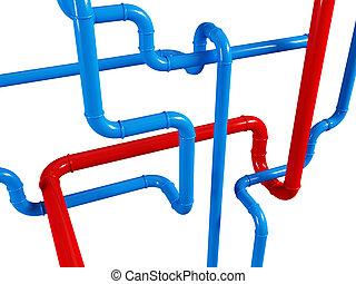 blu, tubo, sfondo rosso