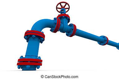 blu, tubo, valvola