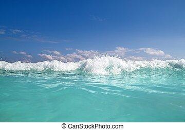 blu, turchese, caraibico, schiuma, onda, acqua, mare