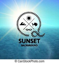 blu, turchese, superficie, acqua, tramonto, mare