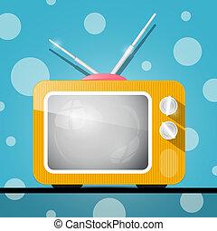 blu, tv, astratto, illustrazione, retro, fondo, arancia, televisione