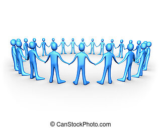 blu, unito, -, persone