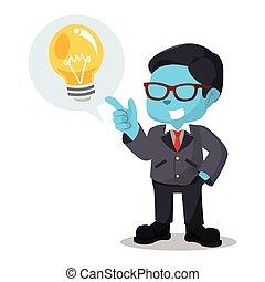blu, uomo affari, callout, idea