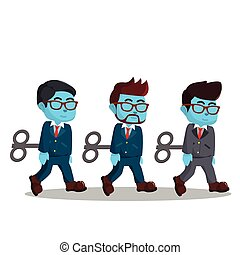 blu, uomo affari, lavoro, robot