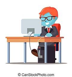 blu, uomo affari, suo, lavorativo, scrivania