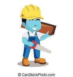 blu, uomo tuttofare, presa a terra, legno, e, seghetto