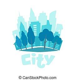 blu, urbano, silhouette, illustration., appartamento, fondo., orizzonte, vettore, città, life., icon., style., paesaggio